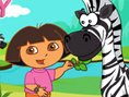 Dora like baby animal very much. Today, She would take care of a cute baby Zebra. Zebra living in th